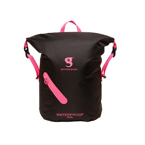 Lightweight 30L Waterproof Backpack - Black/Neon Pink