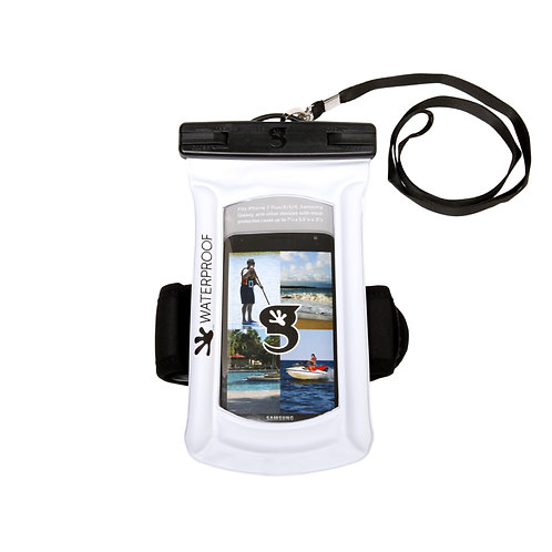 Float Phone Dry Bag With Arm Band - White