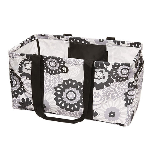 Large Utility Tote - Black/White Floral