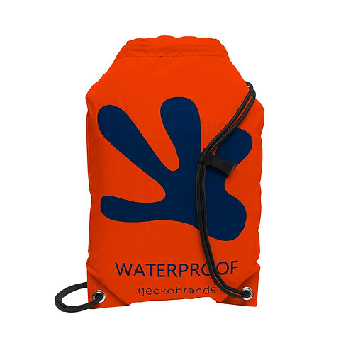 Drawstring Waterproof Backpack - Orange/Navy