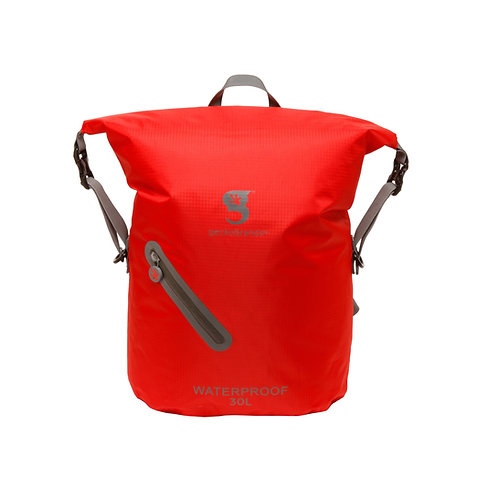 Lightweight 30L Waterproof Backpack - Red/Grey