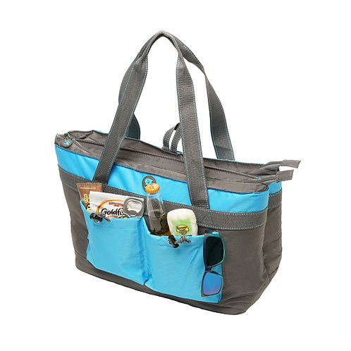 2 Compartment Tote Cooler - Grey/Neon Blue