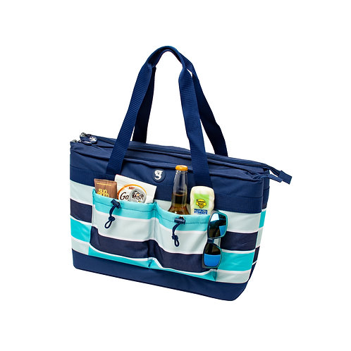 2 Compartment Tote Cooler - Blue/Grey Wide Stripe