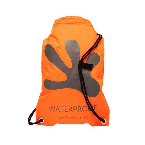 Drawstring Waterproof Backpack - Neon Orange/Grey