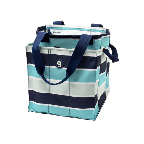 7 Pocket Market Tote - Blue/Grey Wide Stripe