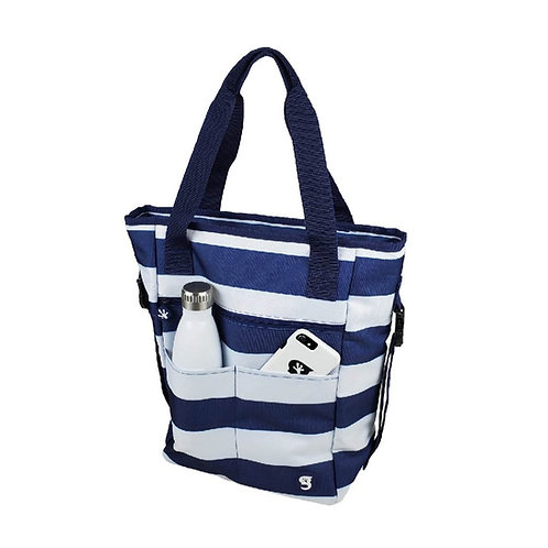 Convertible Tote & Backpack - Blue/White Stripe