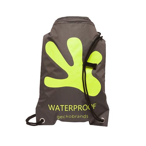 Drawstring Waterproof Backpack - Grey/Neon Green