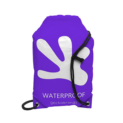 Drawstring Waterproof Backpack - Purple/White