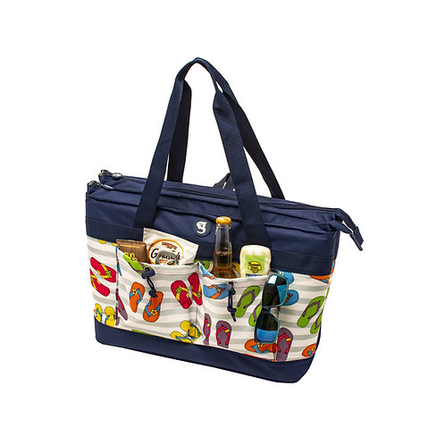 2 Compartment Tote Cooler - Flip Flop Toss