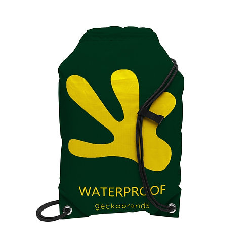 Drawstring Waterproof Backpack - Hunter Green/Yellow