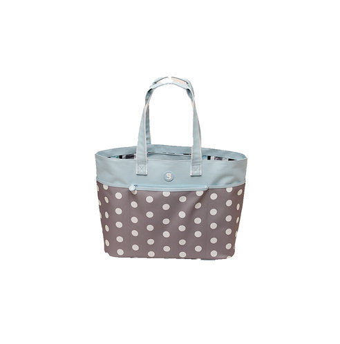 Beach Tote - Polka Dot - Grey/Blue