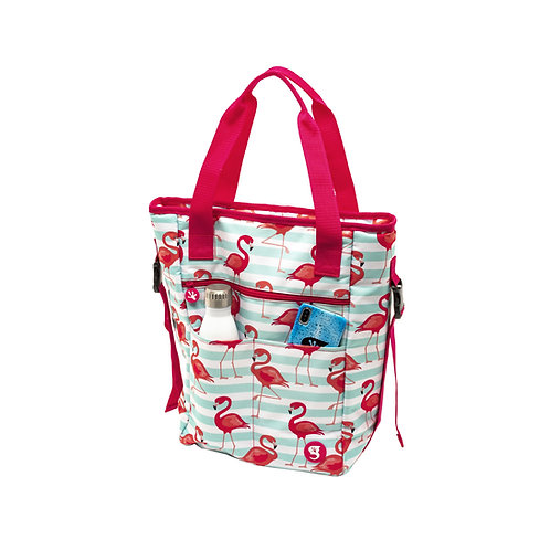 Convertible Tote & Backpack - Flamingo Stripe