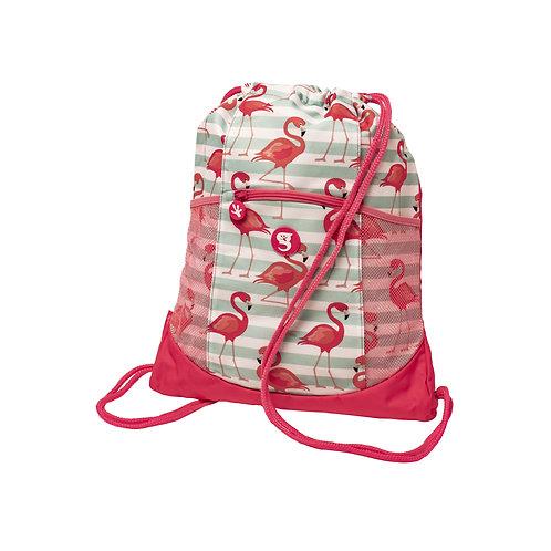 Drawstring Backpack - Flamingo Stripe