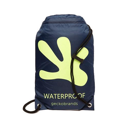 Drawstring Waterproof Backpack - Navy/Neon Green