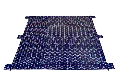 Lightweight Waterproof Blanket - Blue Large Anchor