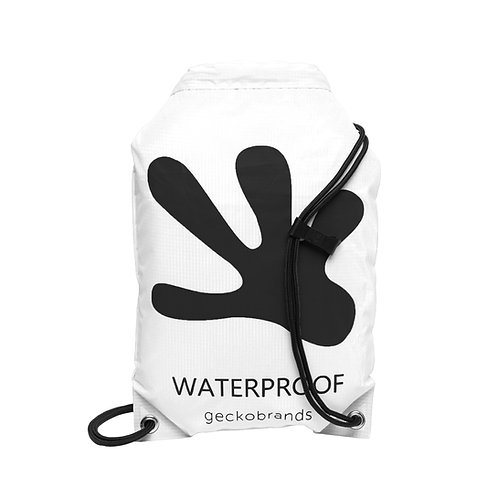 Drawstring Waterproof Backpack - White/Black