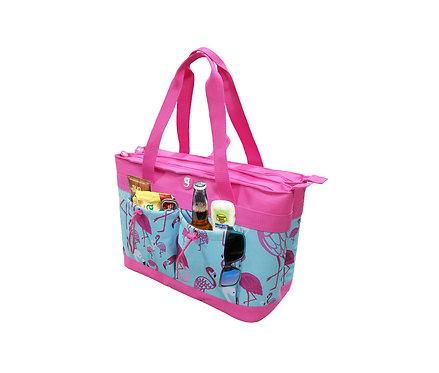 2 Compartment Tote Cooler - Flamingo