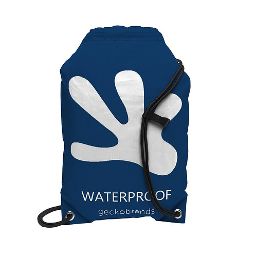Drawstring Waterproof Backpack - Navy/White