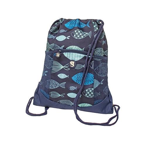 Drawstring Backpack - Blue Fish