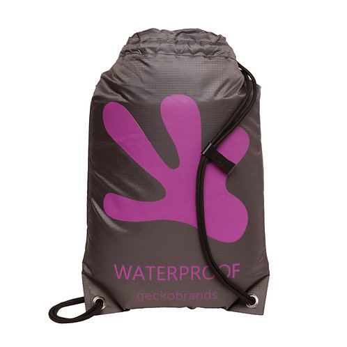 Drawstring Waterproof Backpack - Grey/Purple