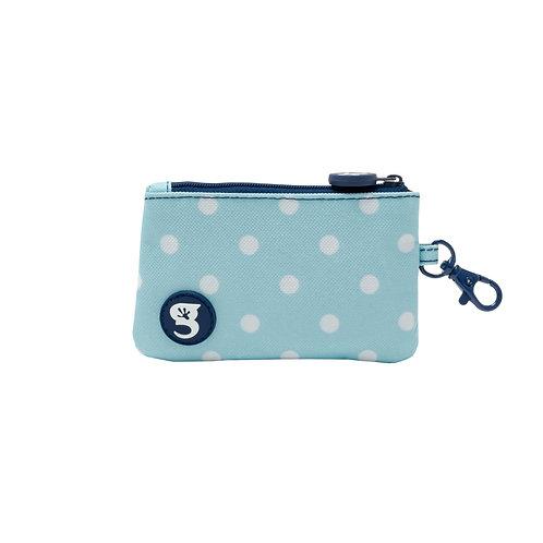 ID Case Wallet W/ Clip - Light Blue Polka Dot