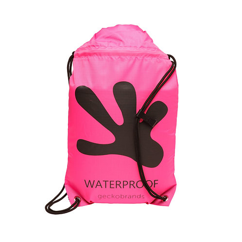 Drawstring Waterproof Backpack - Neon Pink/Black