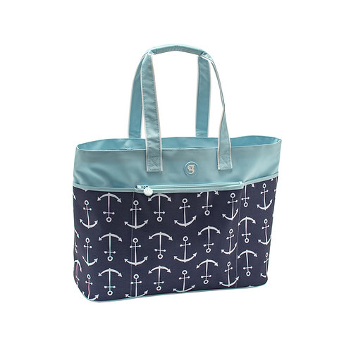 Oversized Beach Tote - Blue Large Anchor