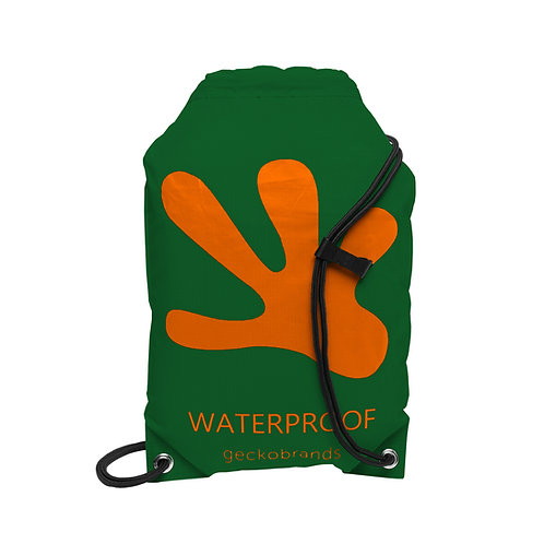 Drawstring Waterproof Backpack - Hunter Green/Orange