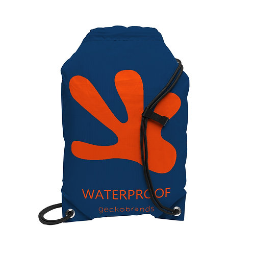 Drawstring Waterproof Backpack - Navy/Orange