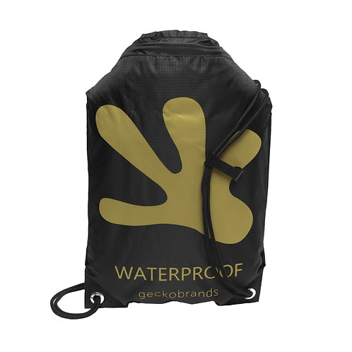 Drawstring Waterproof Backpack - Black/Gold