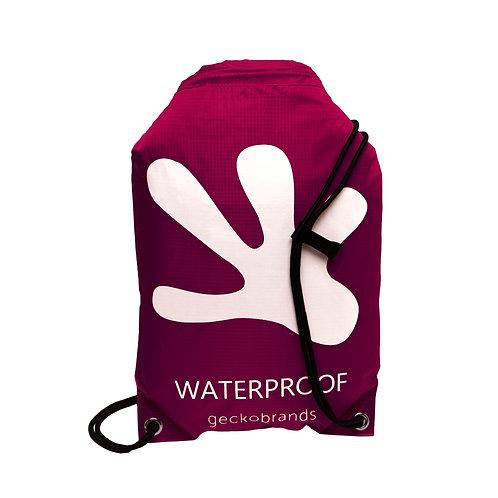 Drawstring Waterproof Backpack - Maroon/White