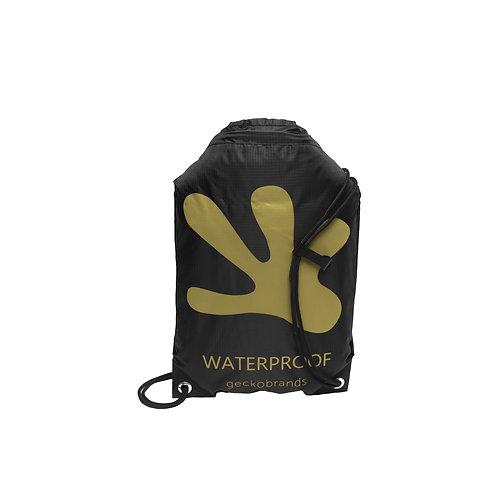 Drawstring Waterproof Backpack - Black/Gold