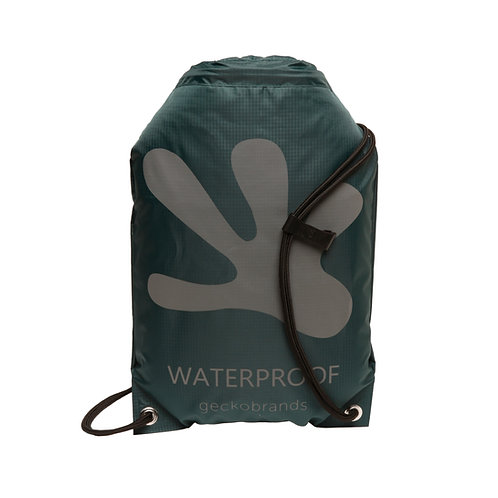 Drawstring Waterproof Backpack - Hunter Green/Grey