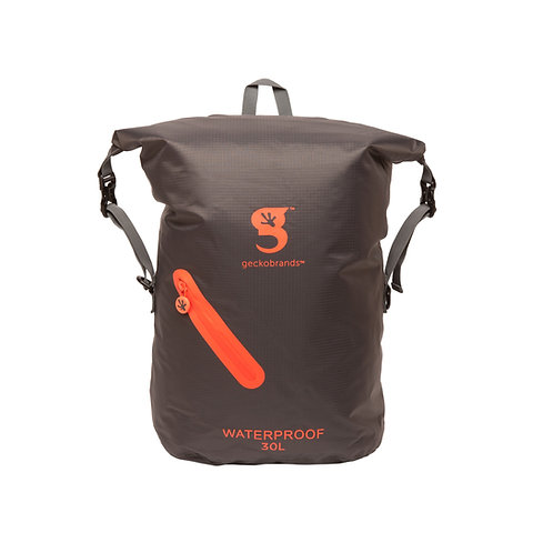 Lightweight 30L Waterproof Backpack - Grey/Neon Orange