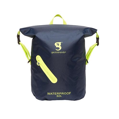 Lightweight 30L Waterproof Backpack - Navy/Neon Green