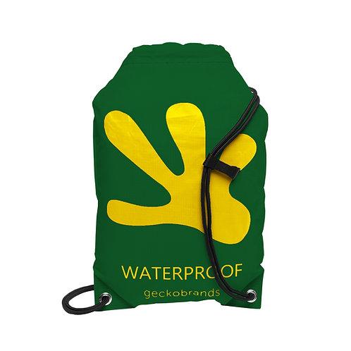 Drawstring Waterproof Backpack - Hunter Green/Yellow