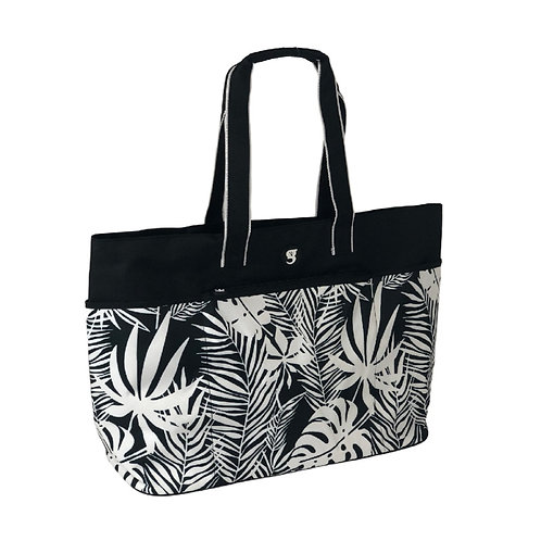 Oversized Beach Tote - Black/White Palms