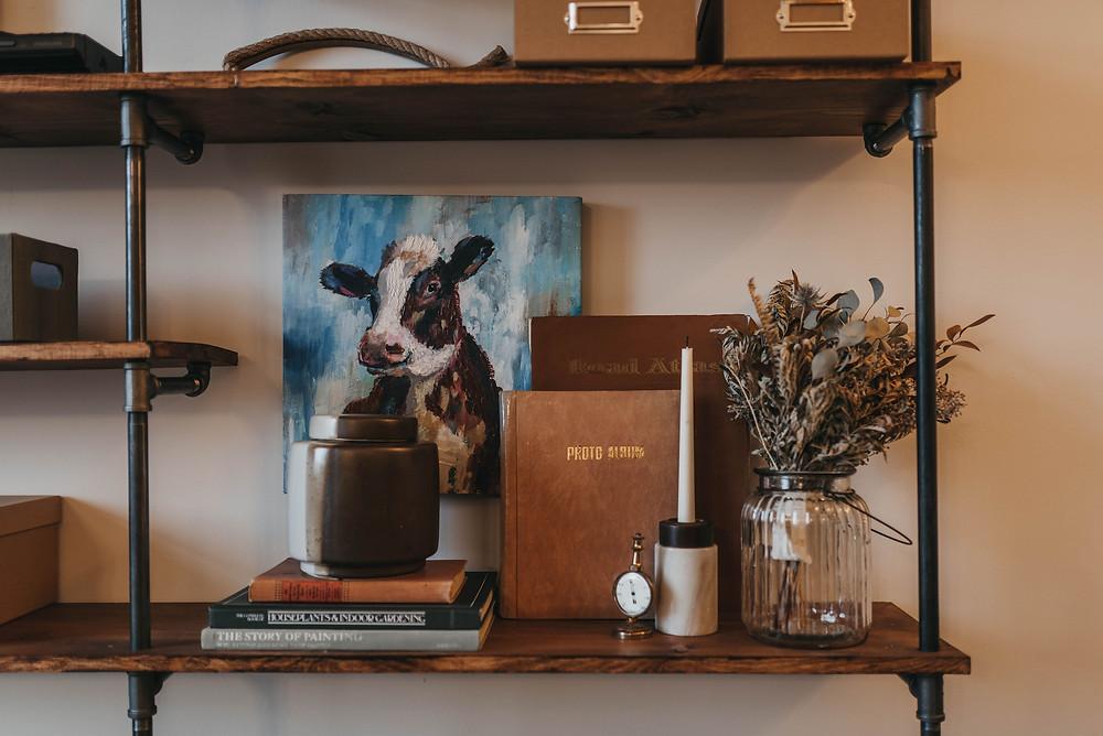 Home DIY Media Wall - Wood and Pipe Shelving