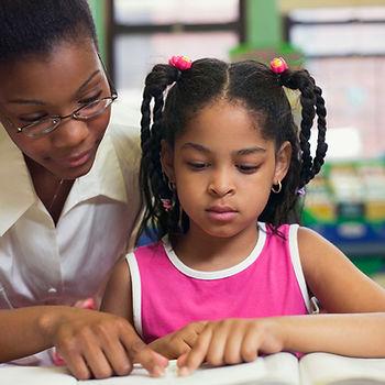 Dyslexic child reading