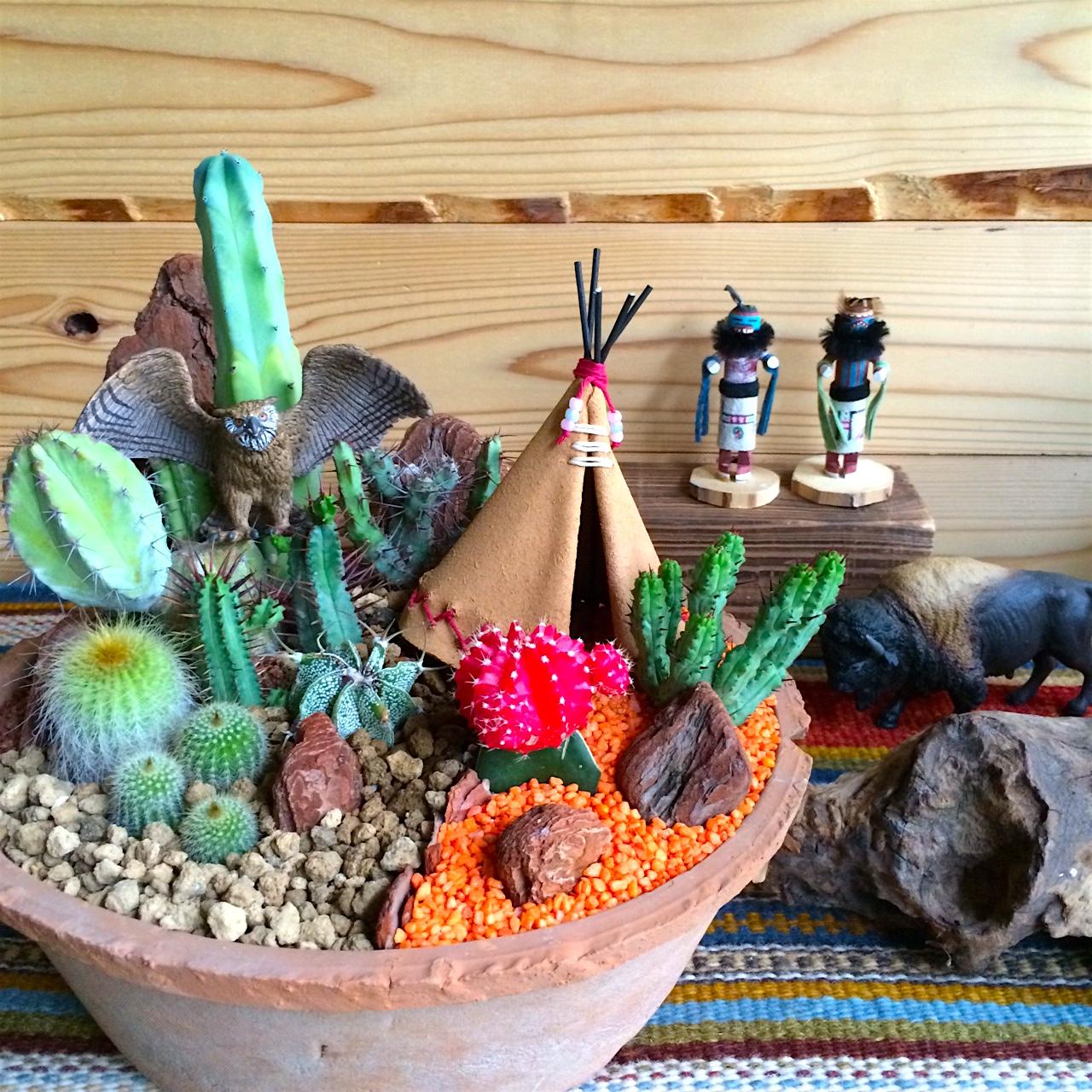 Owl & Tipi in Cactus