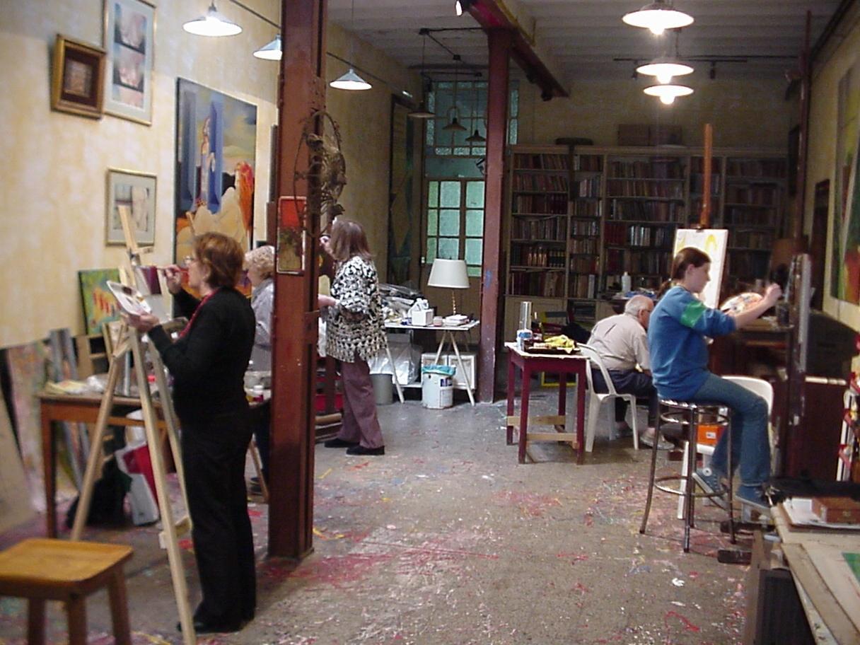 Alumnos en el taller de Busse