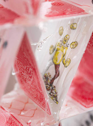 Half Flush (detail), 2015  Edition of iii w/ variations  printed playing cards, resin  81 1/2 x 2 /12 x 63 in -- 207 x 6.5 x 160 cm