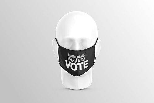 Wash Hands Wear Mask VOTE Face Covering