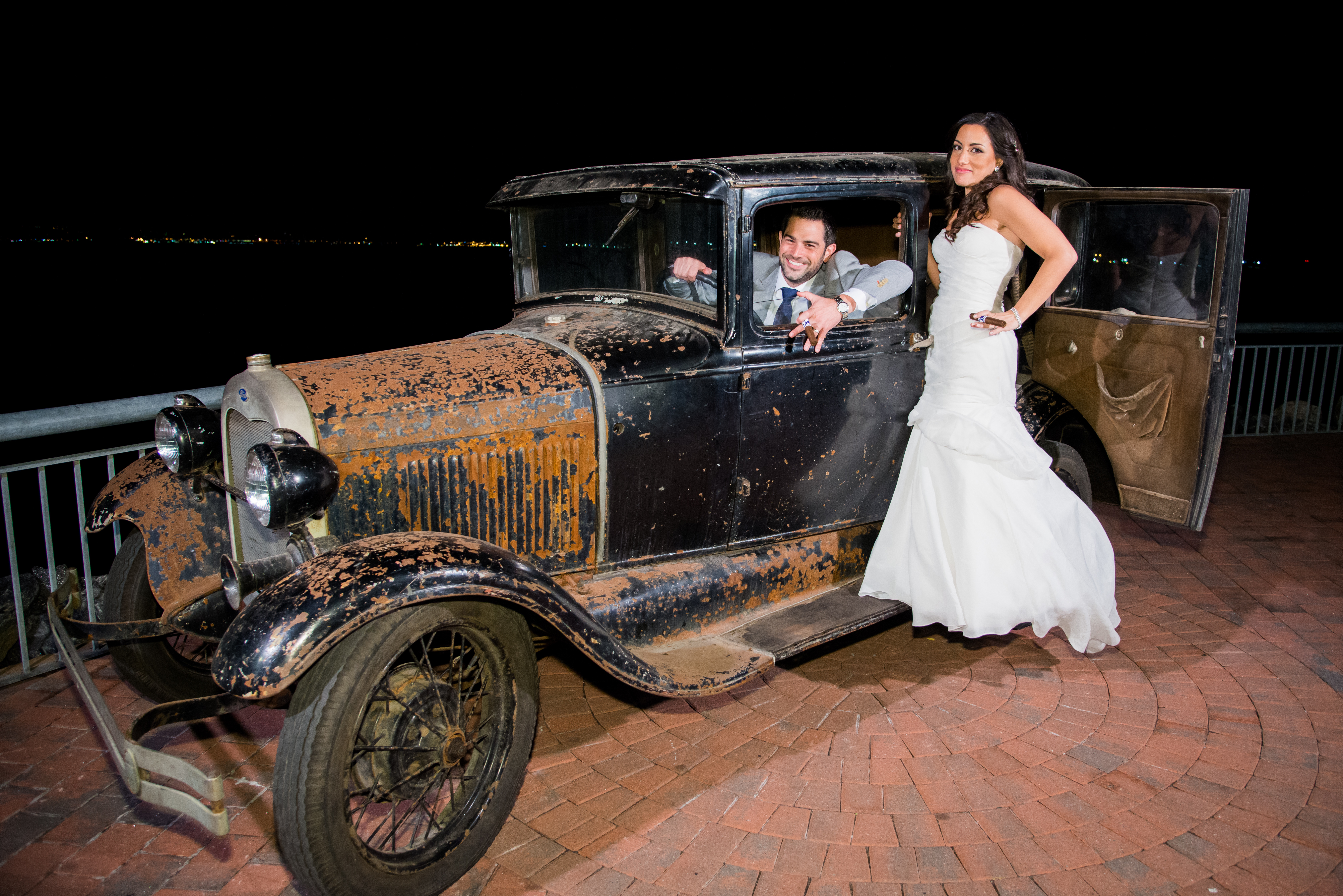 Couple and Antique Car