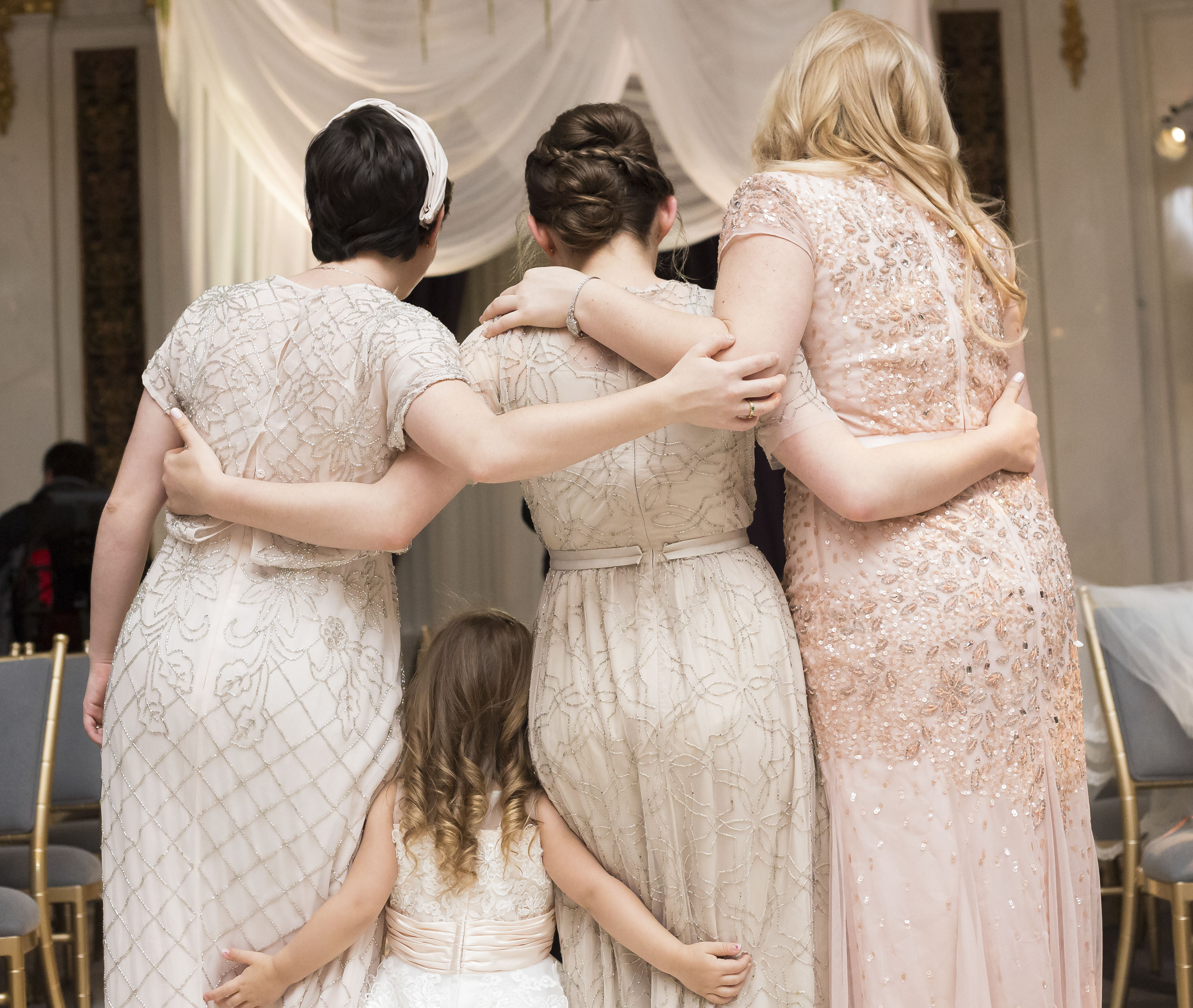 Little Girl and Bridesmaids