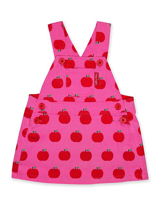 Toby Tiger Apple Print Twill Dungaree Dress