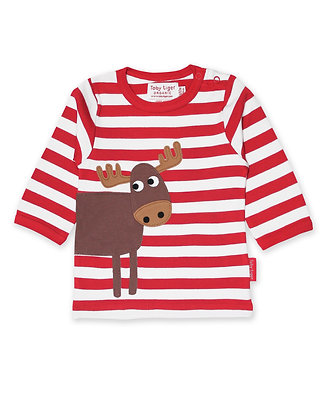 Toby Tiger Moose Applique Long Sleeve Tshirt