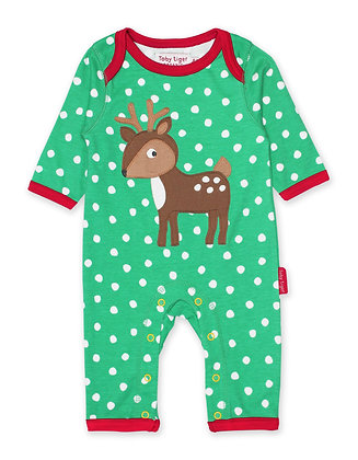 Toby Tiger Deer Applique Sleepsuit