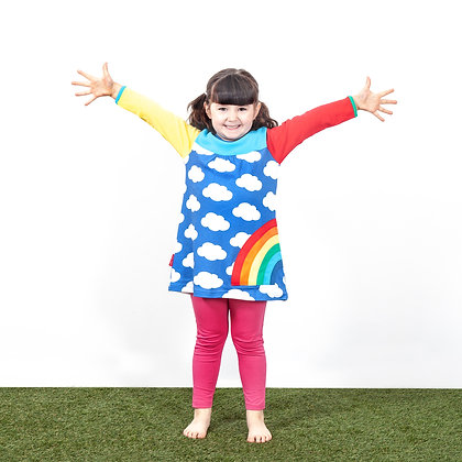 Toby Tiger Multi Rainbow Applique Long Sleeve Dress