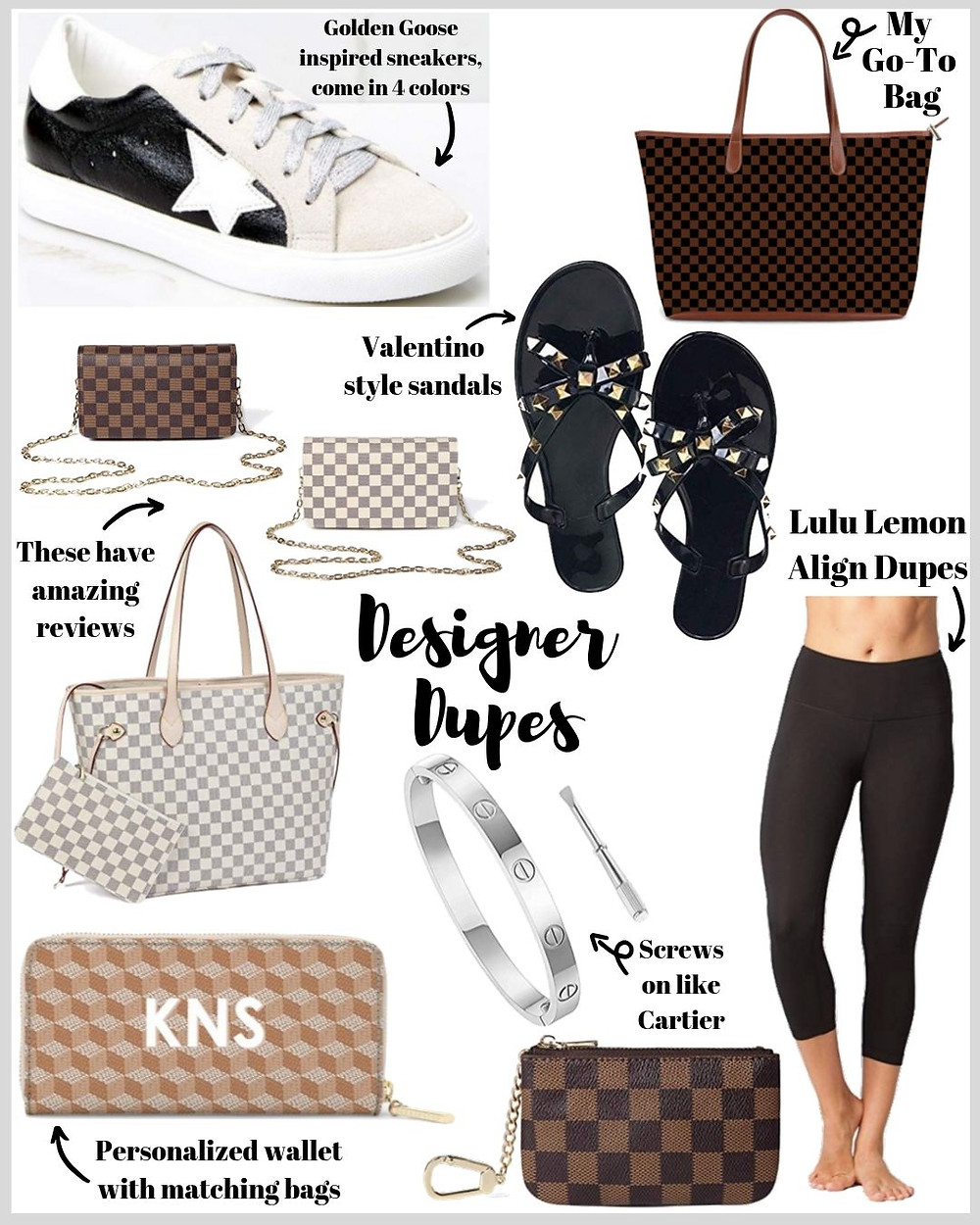 designer dupes collage for a girl on a budget